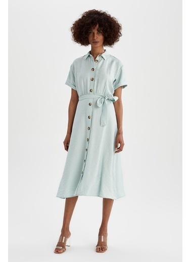 DeFacto Gömlek Yaka Midi Elbise Turkuaz